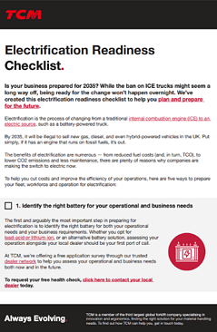 TCM - Electrification Readiness Checklist