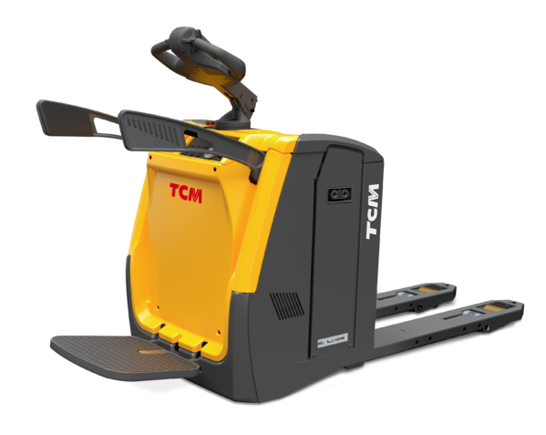 TCM PTF powered pallet truck with foldable platform