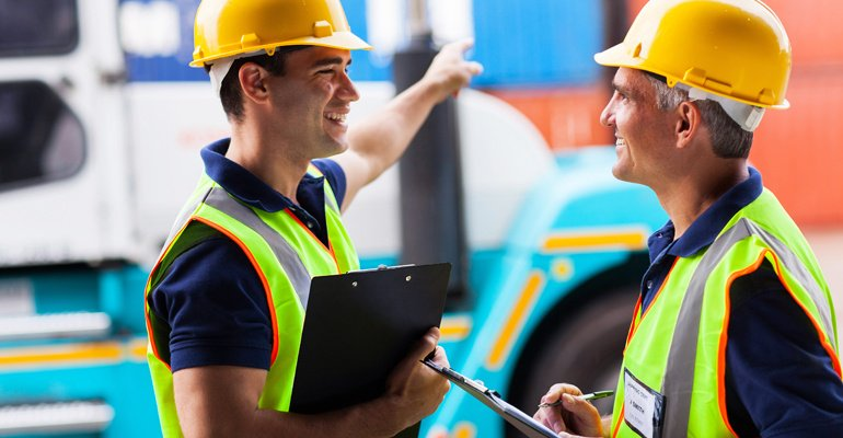 Material handling professionals talking